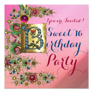 ANTIQUE FLORAL GOLD PINK SWEET 16  BIRTHDAY PARTY CARD