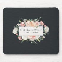 Antique Floral Logo | Blush & Charcoal Mouse Pad