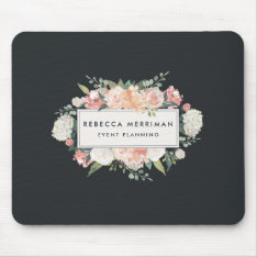 Antique Floral Logo | Blush & Charcoal Mouse Pad at Zazzle