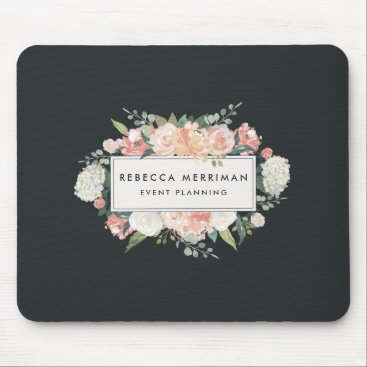 Professional Business Antique Floral Logo | Blush & Charcoal Mouse Pad