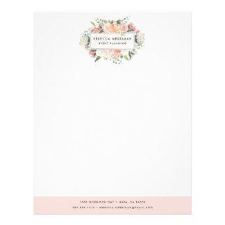 Antique Floral Logo   Blush Pink Letterhead