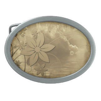 Antique Floral Paper Belt Buckle