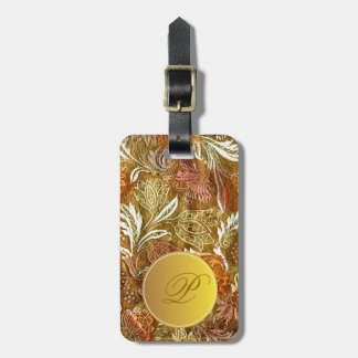 Antique  floral pattern with letter P Luggage Tag