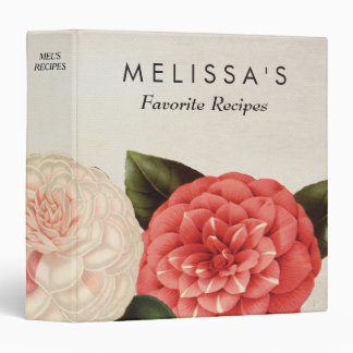 Antique Floral Personalized Cooking Recipe Binder
