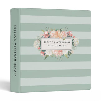 Antique Floral Sage Stripe Binder