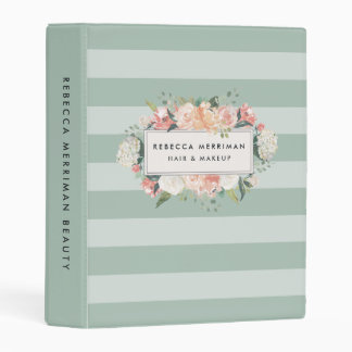 Antique Floral Sage Stripe Mini Binder