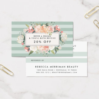 Antique Floral | Sage Stripe Referral Business Card