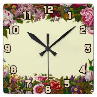 Antique Floral Wreath Square Wall Clocks