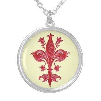 ANTIQUE FLORENTINE FLEUR DE LISE,Cream Personalized Necklace