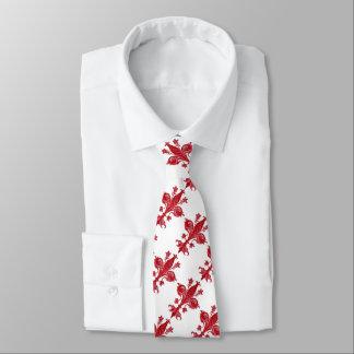 ANTIQUE FLORENTINE LILY / RED FLEUR DE LISE, White Tie