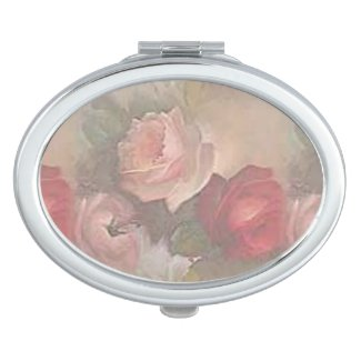 Antique Flowers Silver Compact Case Makeup Mirror