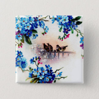 Antique Forget me not Floral Frame Birds Scene Button