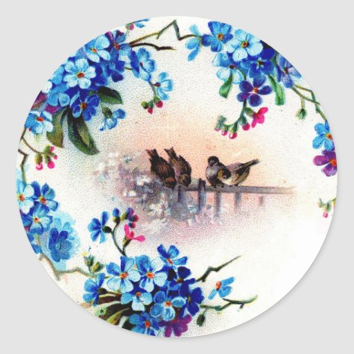 Antique Forget me not Floral Frame Birds Scene Classic Round Sticker