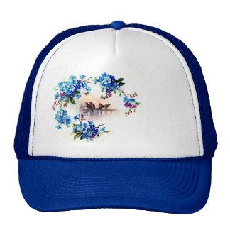Antique Forget me not Floral Frame Birds Scene Trucker Hat