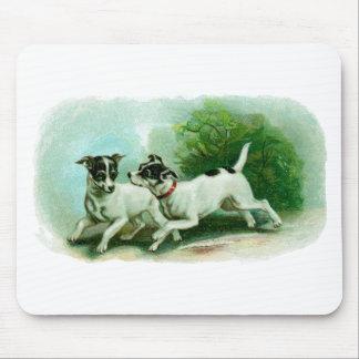 Antique Fox Terrier Illustration Mouse Pad