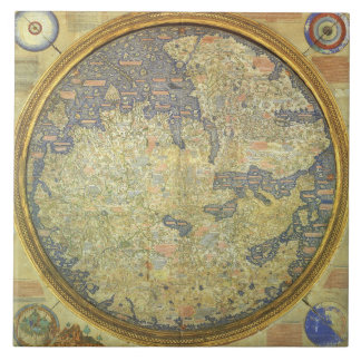 Antique Fra Mauro Map Asia Africa Europe Tile