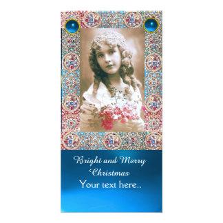 ANTIQUE FRAME,ANGELS,PRECIOUS JEWELS,BLUE GEMS CARD