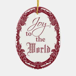 Antique Frame Joy To The World Christmas Ornament