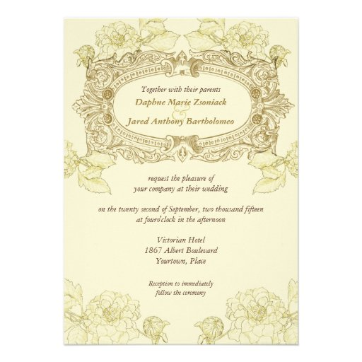 antique frame wedding invitation 5 x 7 invitation card zazzle