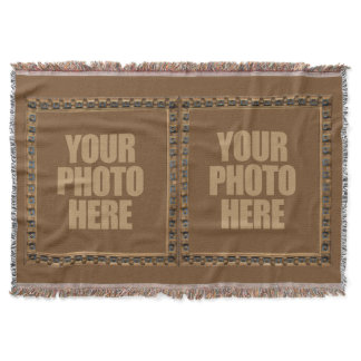 Antique Frame with YOUR 2 PHOTOS throw blanket