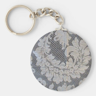 Antique French Alencon Lace Basic Round Button Keychain