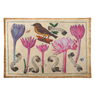 Antique French Botanical Print with Bird Place Mats