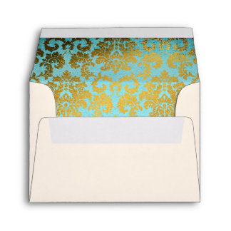 Antique French Damask Wedding RSVP Envelope