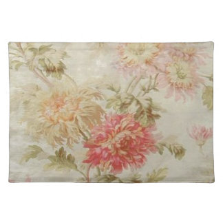 Antique French Floral Toile Cloth Placemat