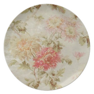 Antique French Floral Toile Dinner Plates
