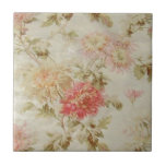 """Antique French Floral Toile Tile<br><div class=""""desc"""">This is a gorgeous reproduction of a french floral (Toile) design on one side dating from the early 1800s. The tones are still just as fresh today. What an opportunity to purchase vintage fabric designs at just a fraction of the cost!! **I have also included vintage style labels on several...</div>"""