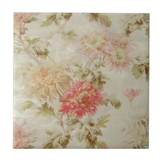 Antique French Floral Toile Ceramic Tile
