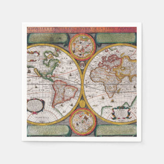 Antique French Map of The World Napkin