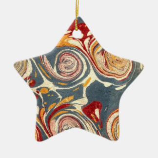 Antique French Paper Marbling Marbled  Ornament