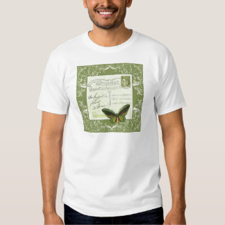 Antique French postcard with stamp T-shirt