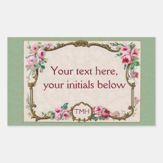 Antique French Rose Perfume Blank Frame Rectangular Sticker