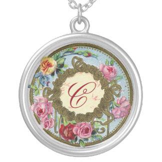 Antique French Rose Perfume Monogram Necklace