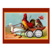 Antique funny chickens duck spool cotton postcard