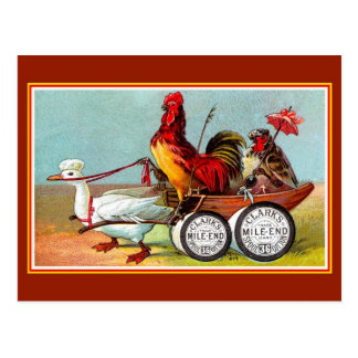 Antique funny chickens duck spool cotton postcard
