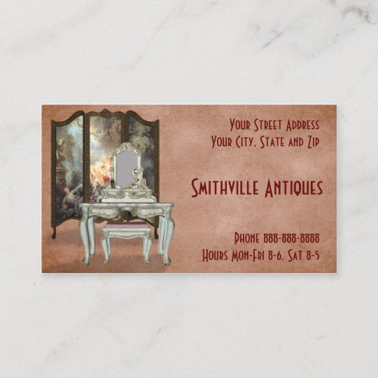 Business Furniture Shop: Antique Furniture Store Business Card