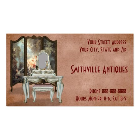 Pink Antique Furniture Store Business Card Templates