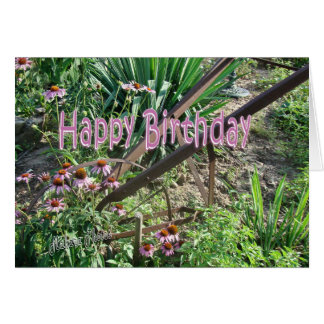 antique garden cultivator -personalize card