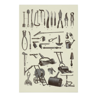Antique Garden Tools from Old Dictionary Print