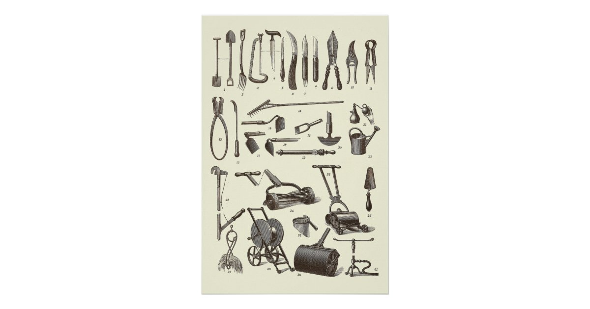 Antique garden tools from old dictionary poster zazzle for Gardening tools dictionary