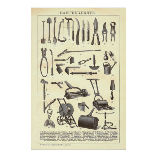 Antique Garden Tools from Old Dictionary Poster