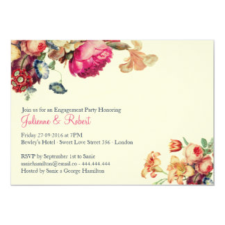 Antique Garden | Vintage Engagement Party Card