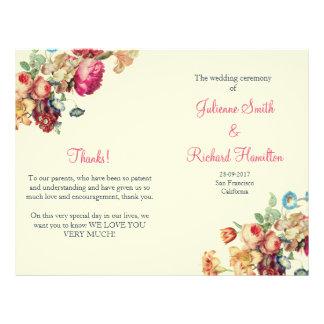 Antique Garden | Vintage Wedding Folded Program Flyer