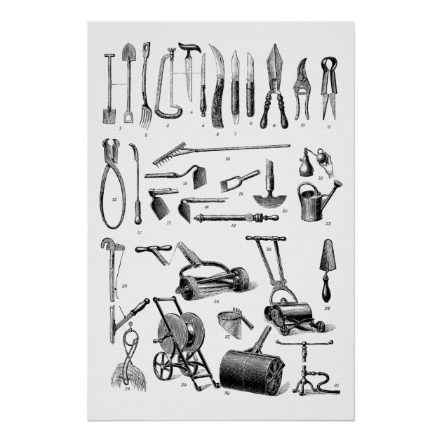 Antique Gardening Tools Garden Supply Store Poster | Zazzle.com