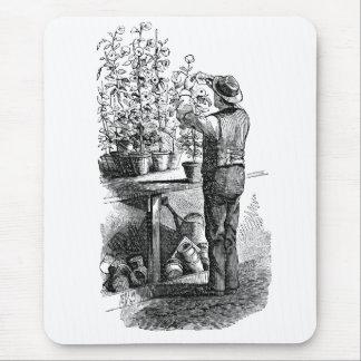 Antique Gardner Florist Gardening Engraving Mouse Pad