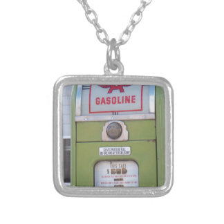 Antique Gas Pump Silver Plated Necklace