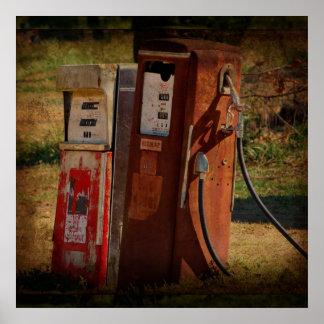 Antique Gas Pumps Poster